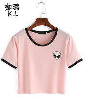 Summer Style Alien UFO Cartoon Printed Pink 2017 Women Short T-shirt Tumblr Cute Harajuku Style kawaii Tops Shirts