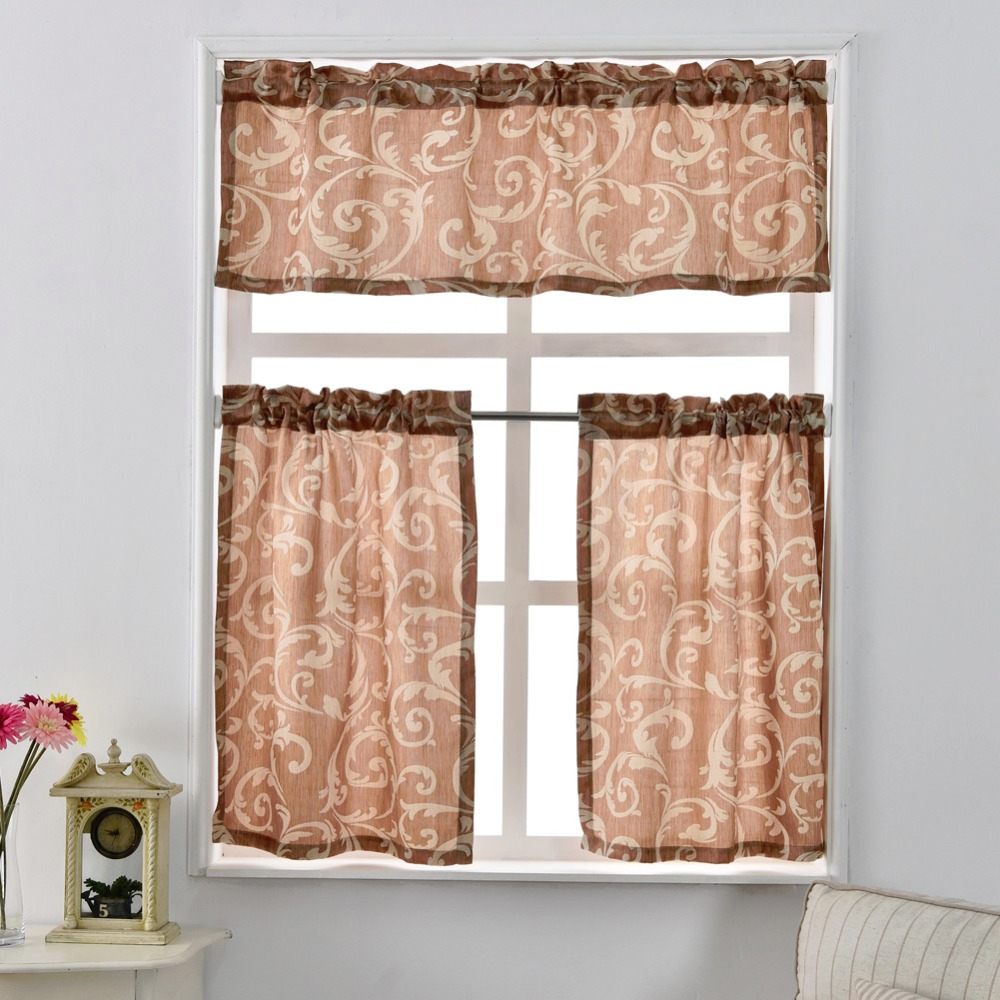 with white brown accent and window gray stripes trim dots rod pocket valance large carousel