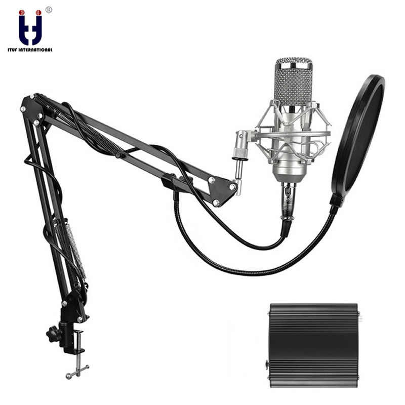 Ituf Professional Condenser Microphone for computer bm 800 Audio Studio Vocal Recording Mic KTV Karaoke + Metal Microphone stand