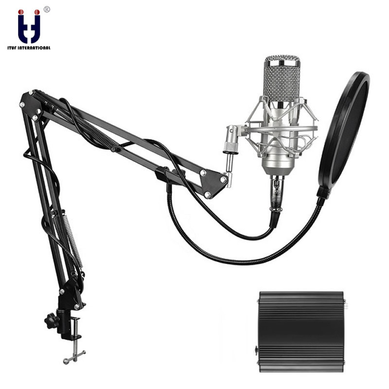 Microphone à condensateur professionnel Ituf pour ordinateur bm 800 Audio Studio enregistrement Vocal micro KTV karaoké + pied de Microphone en métal-in Microphones from Electronique    1