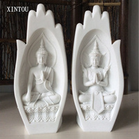 XINTOU Buddha Statue Monk Figurines 2Pcs Buddhas Decor Tathagata Yoga Mandala Hands sculpture Home Decoration Accessories 2color