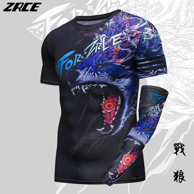 ZRCE 3D Print Wolf Men Shirt With Arm Sleeve O-neck Summer Funny Cosplay Costume Stranger Cool Things Streewear Skinny Tee Shirt 1