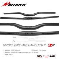 Ullicyc MTB Carbon friber Bicycle Handlebar Flat or Rise Handlebar Mountain bike parts 31.8*580/600/620/640/660/680/700/720/740