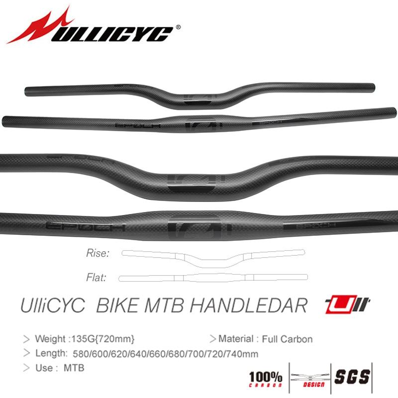 Ullicyc friber In Carbonio MTB Della Bicicletta Manubrio Piatto o Aumento Del Manubrio Mountain parti della bici 31.8*580/600/620/640/660/680/700/720/740