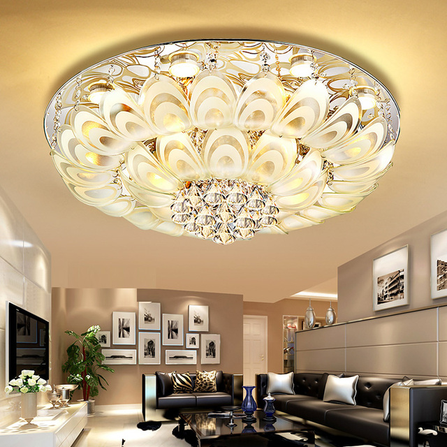 diamond crystals modern led home lamp 80cm315 big crystal ceiling lamps hanging light - Big Living Room Lamps