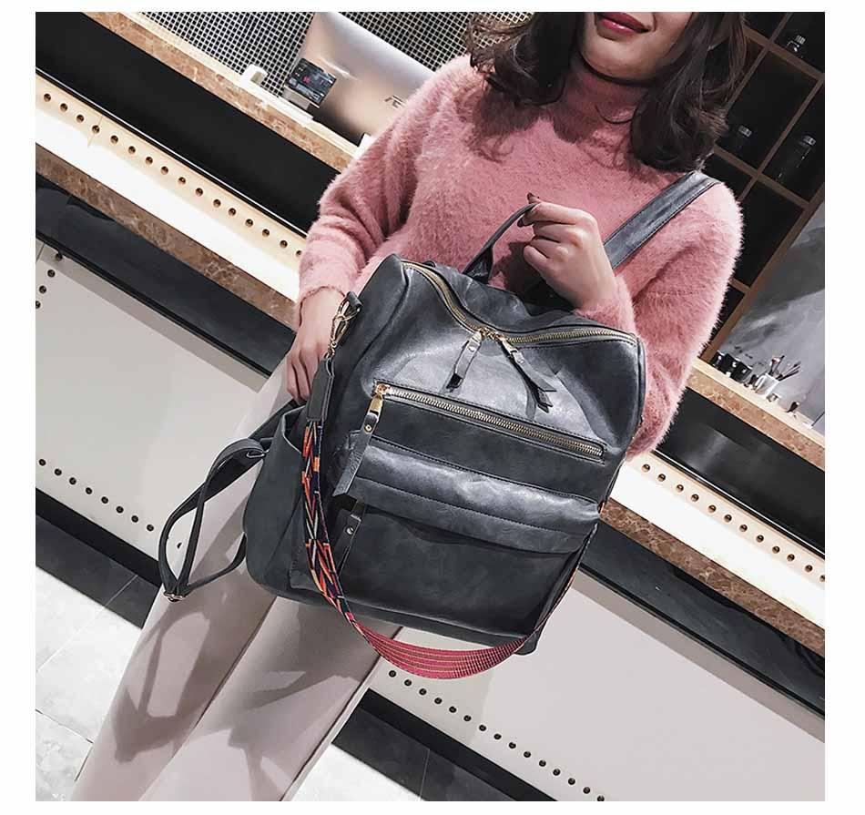 HTB14tyInMLD8KJjSszeq6yGRpXaG Leather Backpack Women 2019 Students School Bag Large Backpacks Multifunction Travel Bags Mochila Pink Vintage Back Pack XA529H