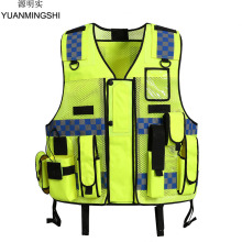 YUANMINGSHI Unisex High Visibility Reflective Multi Pockets Construction Safety Vest Working Cloth Outdoor Safety Clothing Vest high visibility reflective safety vest reflective vest multi pockets workwear safety waistcoat traffic warning service safety