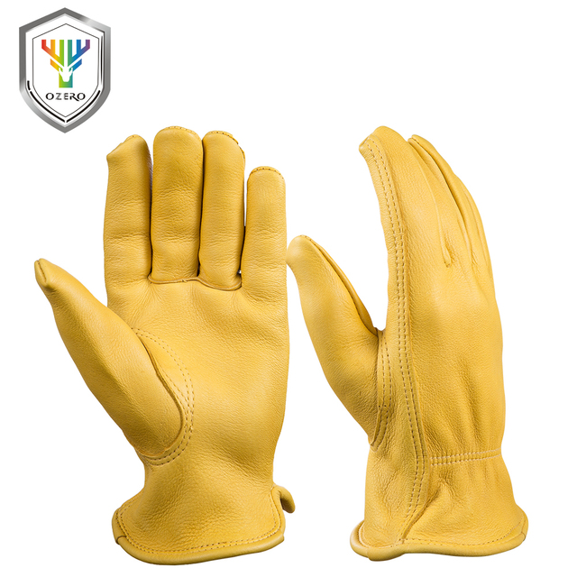 OZERO 作業手袋鹿革セキュリティ保護安全ガーデンドライバ労働者暖かいスポーツモト黒男性 8002