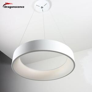 Image 5 - Okrągły aluminiowy nowoczesny wisiorek LED światło do salonu sypialnia jadalnia biuro lampa wisząca Lamparas De Techo Colgante Moderna