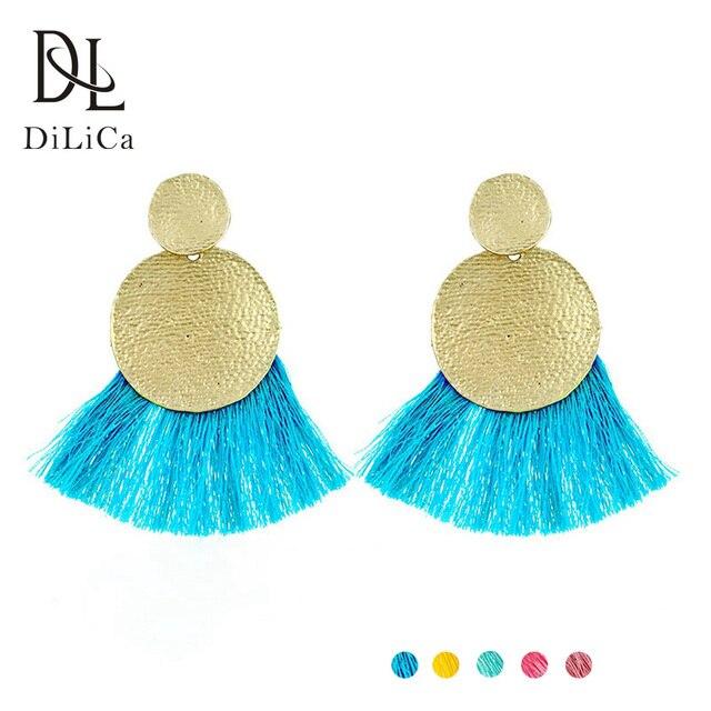3a749b80d730 DiLiCa Fashion Fringe Earrings Female Metal Geometric Boho Earrings aretes  de mujer modernos 2018 Women Dangle Earring Fringe