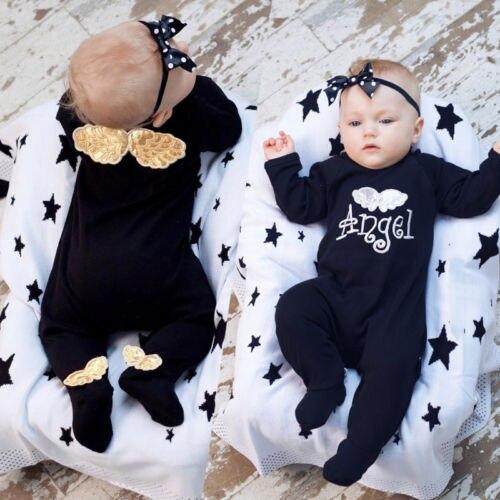 Goedkope Verkoop 2019 Herfst Pasgeboren Baby Meisjes Jongen 3d Vleugels Brief Footies Katoenen Lange Mouwen Footies Jumpsuit Broek Comfortabele Outfits Kleding Brede VariëTeiten