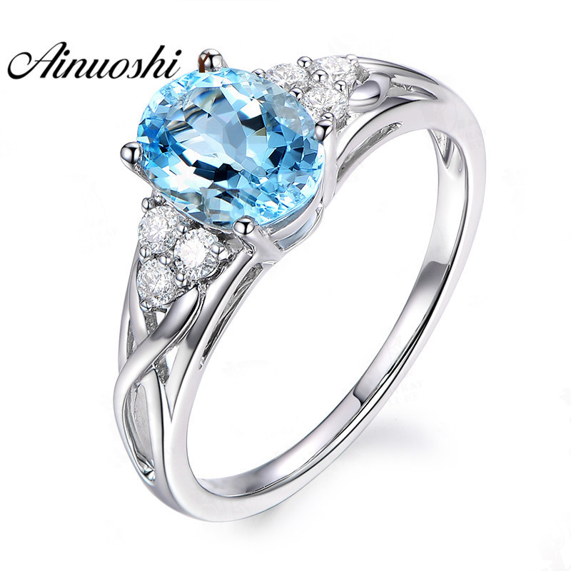 AINUOSHI 925 Sterling Silver Natural Blue Topaz Ring 1.5 ct Oval Cut Topaz Weave Ring Fine Engagement Ring Jewelry for Woman