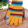Factory Outlets Women Color Stripes Printed Touch Screen Gloves Winter Knitted Warm Thickening Cute Mittens 2 Pair On Sale