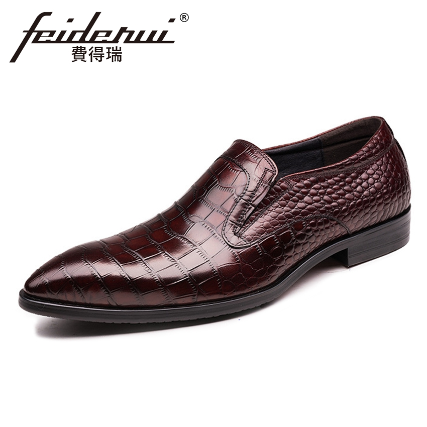 New Arrival Alligator Genuine Leather Mens Loafers Pointed Toe Slip on Handmade Footwear Formal Dress Man Casual Shoes YMX441New Arrival Alligator Genuine Leather Mens Loafers Pointed Toe Slip on Handmade Footwear Formal Dress Man Casual Shoes YMX441