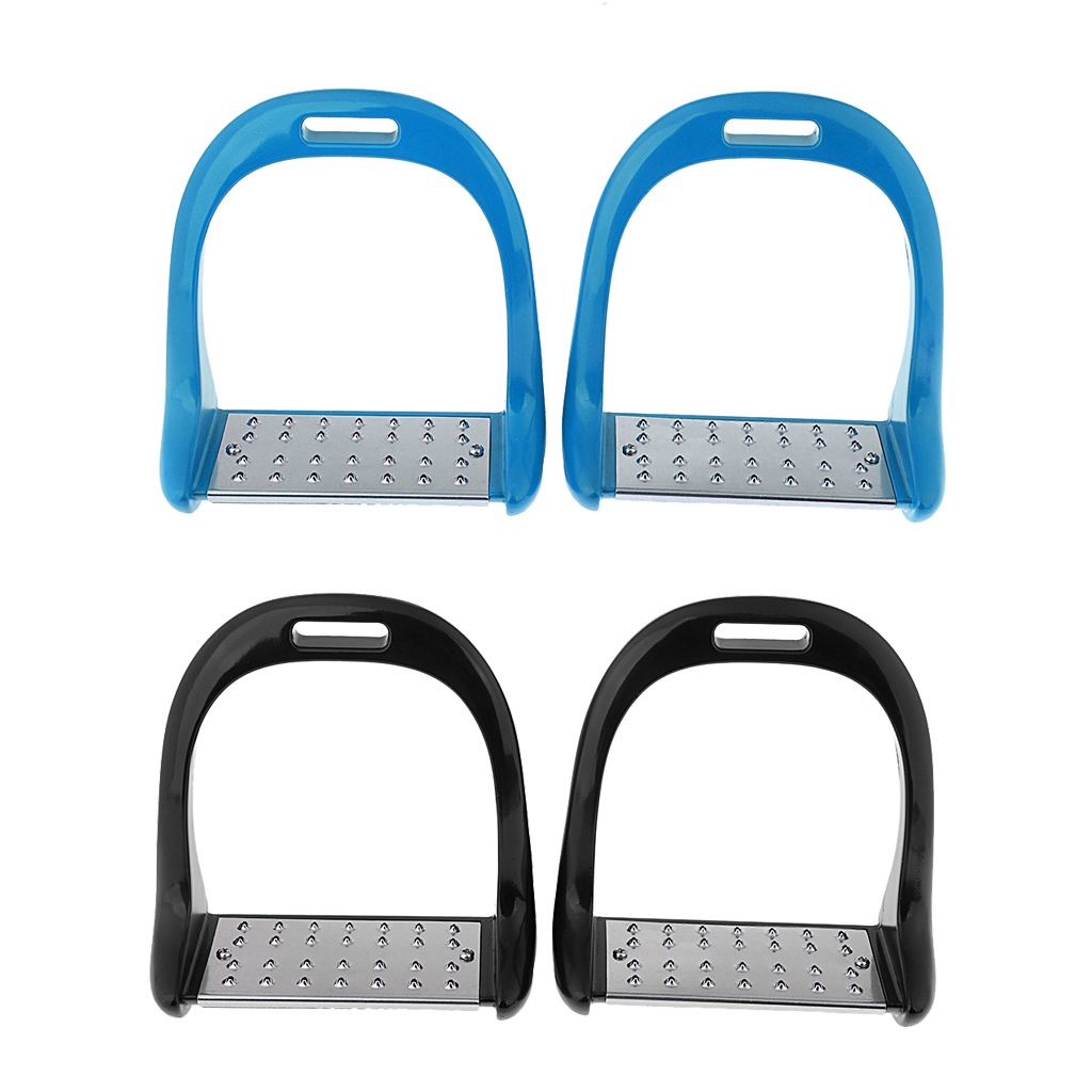 2 Pair Safety Stirrups Aluminium Horse Riding Stirrups Stainless Steel Treads 2.6inch Wide