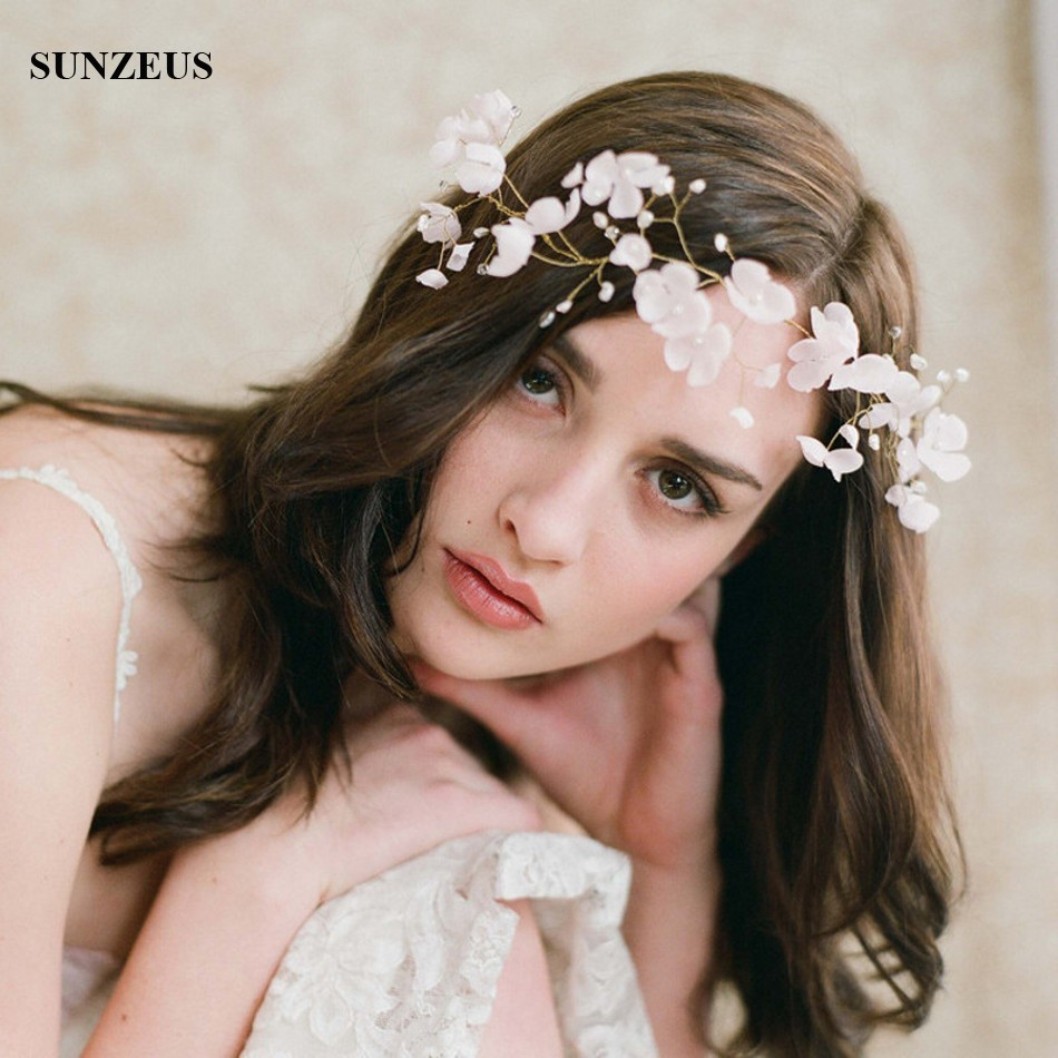 Hand-made Pearls Flowers Bridal Headband Hair Sash Gold Head Chain Wedding Accessory SQ0197