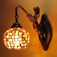 מנורות עתיקות אירופאיות סיטונאי בת ים פסיפס זכוכית מנורות קיר תאורת מסדרון מסעדה יצירתית