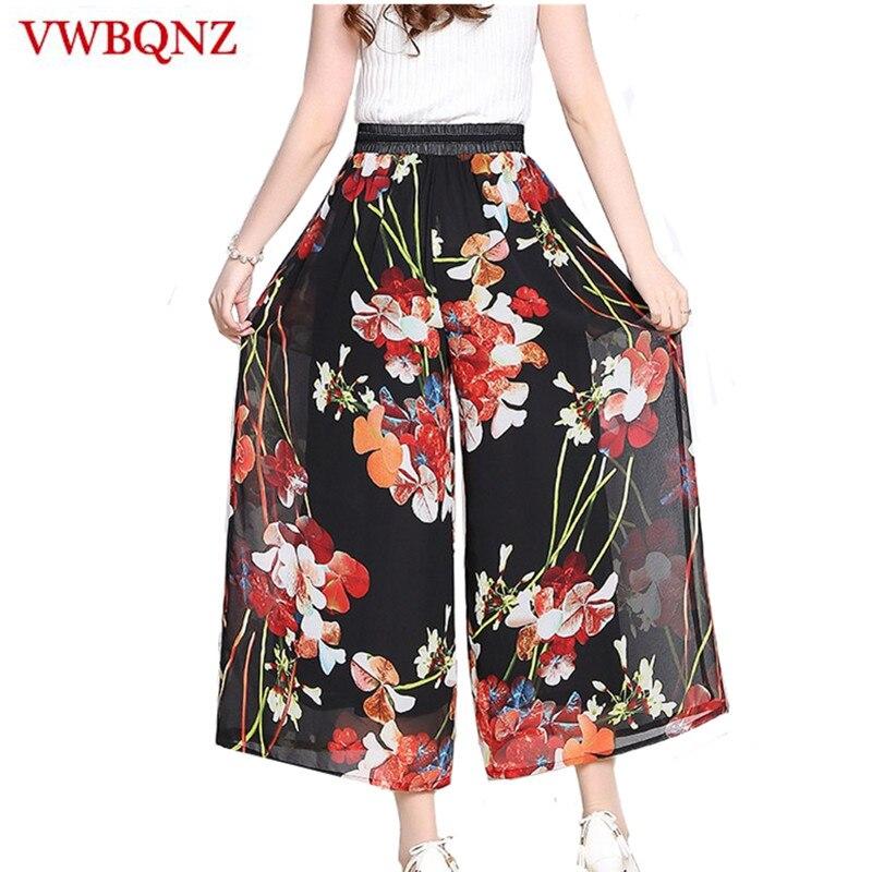 Print Chiffon   Wide     Leg     Pants   Women's Clothing Summer Loose Elasticity Waist Ankle-Length   Pants   Casual Beach Lady   Wide     Leg     Pants