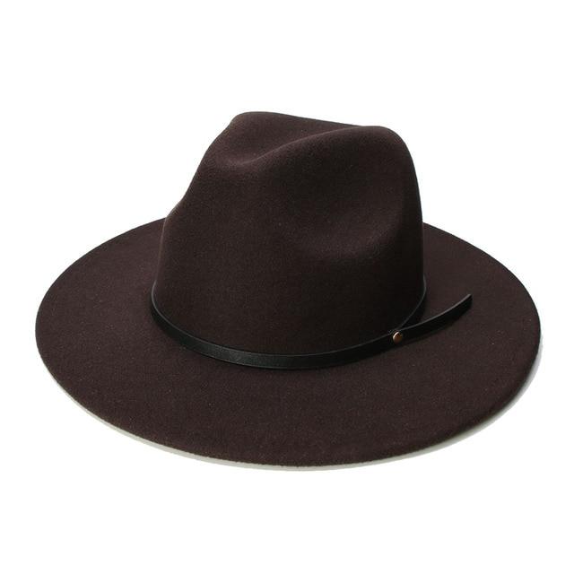 LUCKYLIANJI Retro Women Men Vintage 100% Wool Wide Brim Cap Fedora Panama  Jazz Bowler Hat f8d590034d67