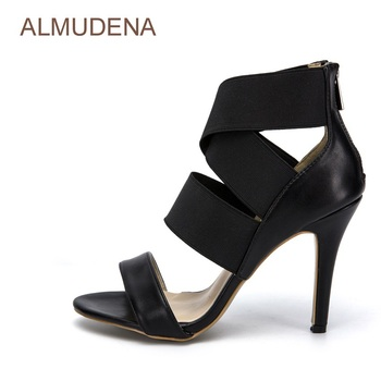 ALMUDENA Unique Design Black Leather Wide Elastic Band Patchwork Dress Sandals Strechy Cross Strappy Gladiator Shoes Thin Heels