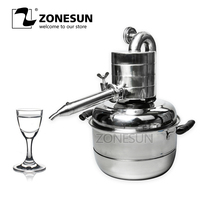 ZONESUN DIY Moonshine Ethanol Stainless 10 Litre Spirits(alcohol) Distillation Boiler Home Brewing equipment