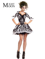 MOONIGHT 2018 New Stripe Ghost Bride Costume For Women S Halloween Zombie Fancy Dress Party Cosplay