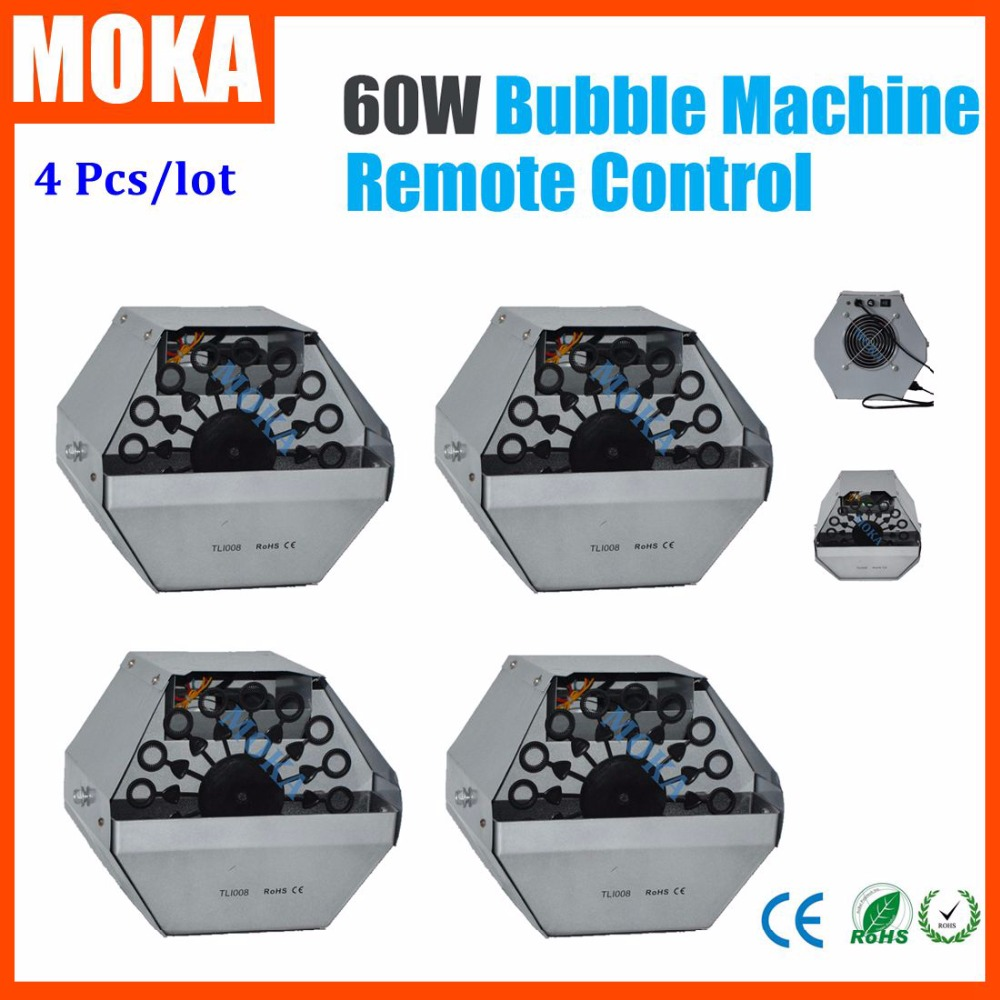 цена на 60W Mini Bubble Machine Stage Bubble Machine Electronic Remote Control Effect Wedding Soap Bubble Blower Machine 4PCS/lot