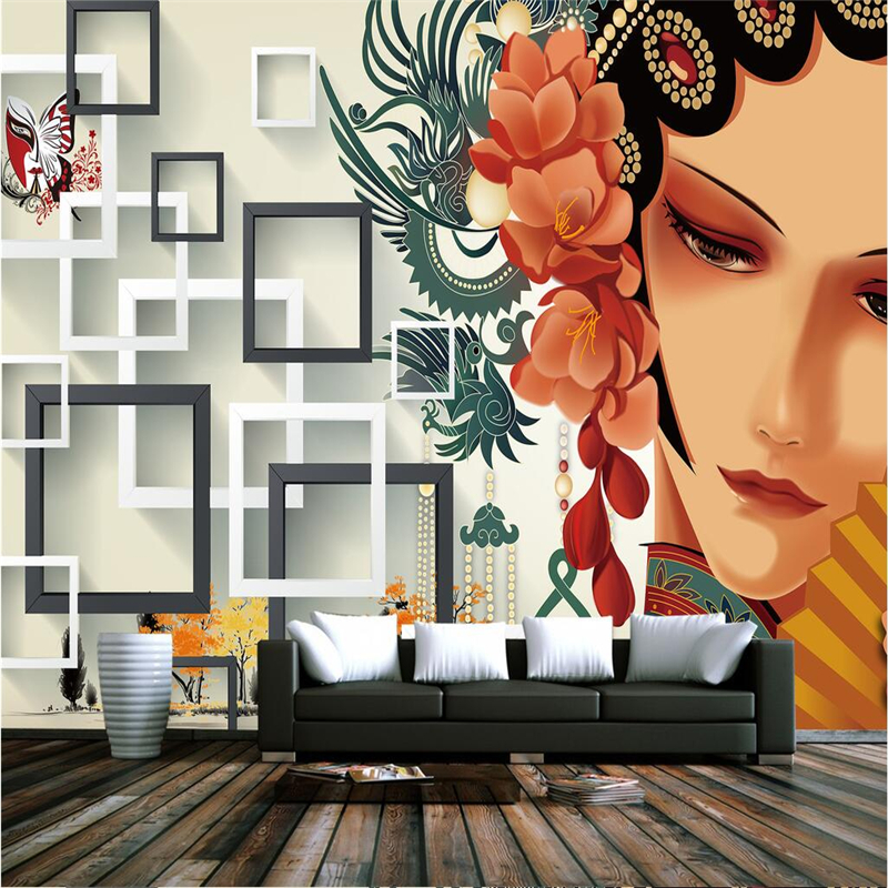 Custom Chinese Wall Murals Chinese Style Beijing Opera 3d Wallpaper Murals Thicken 3d Wall Paper For Living Room TV Background shinehome sunflower bloom retro wallpaper for 3d rooms walls wallpapers for 3 d living room home wall paper murals mural roll