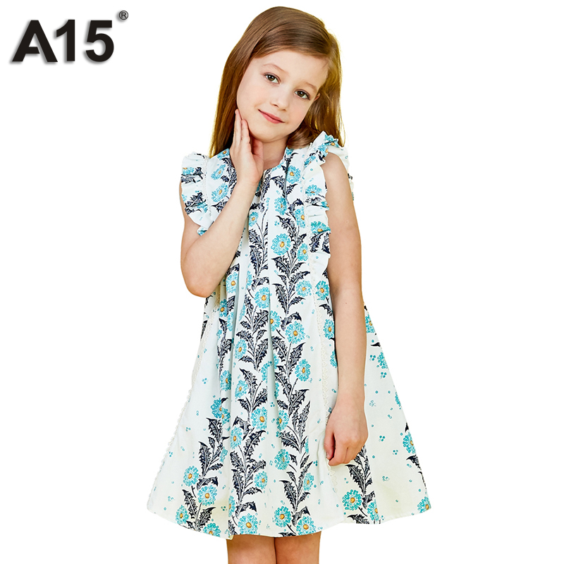 A15 Girl Clothes Princess Dress 2018 Brand Girls Dress White Cute European and American Kids Dresses for Girls Summer Age 3-12 Y