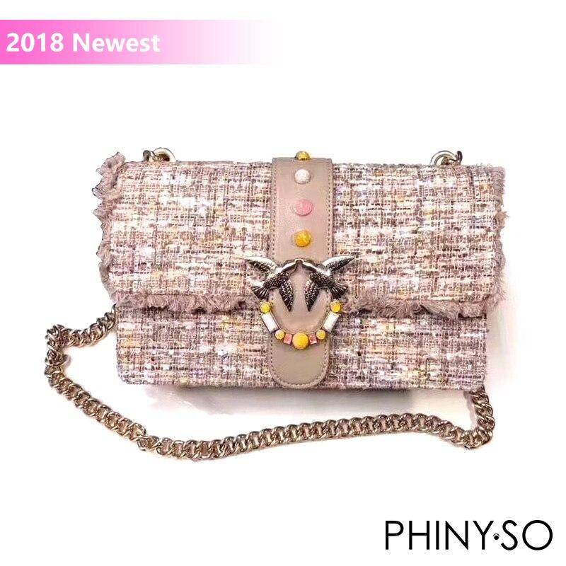 все цены на 2018 Newest Fashion swallow messenger bag famous brand bags women handbag genuine leather cola letter rivet chains flap онлайн