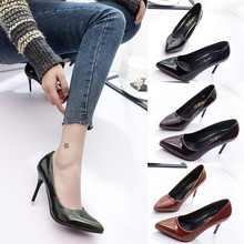 917 High Quality Patent Leather Solid Thin Heels Women Pumps Fashion Mature Dress Women Shoes High Heel zapatos mujer tacon