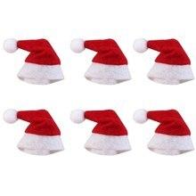 6 unids set Mini sombrero de Navidad Santa Claus sombrero Navidad Lollipop  sombrero Mini regalo de boda creativas tapas decoraci. 006010965af