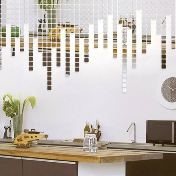 Hot sell mirror decorative wall sticker,5*5CM square combination,20 pieces a