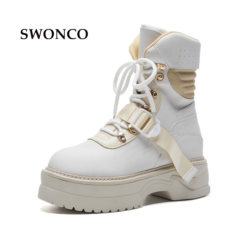 SWONCO Women's Ankle Boots Shoes Woman 2018 Autumn Genuine Leather Platform Boot Ankle Boots For Women Lace Up Punk Martin Boot