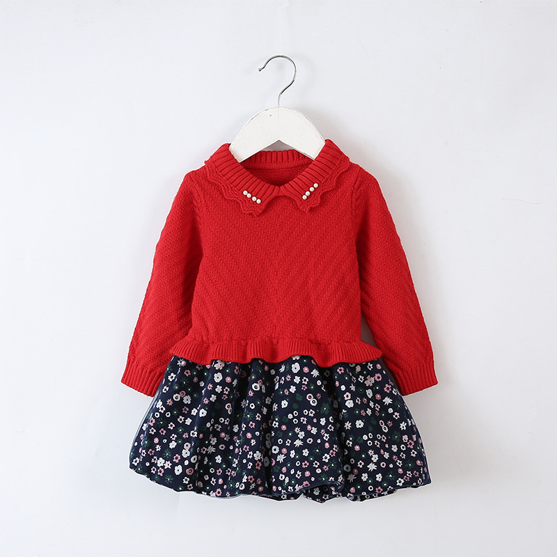 Baby Infant Toddler Girl Sweater Patchwork Dress Peter pan collar ...