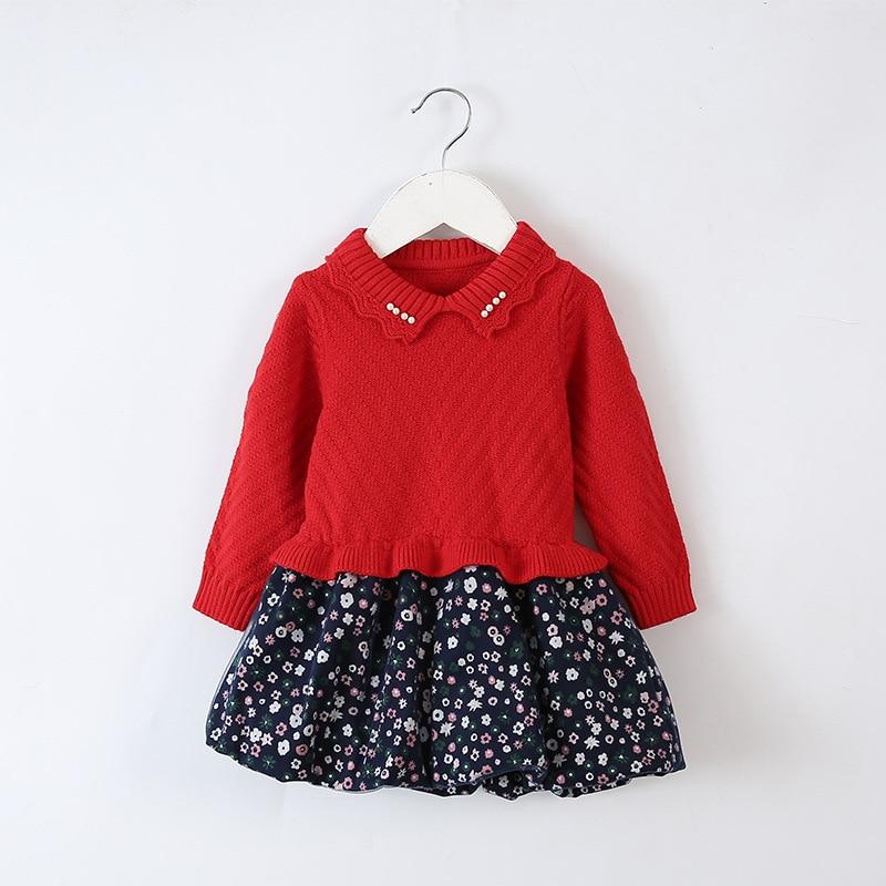 Baby Infant Toddler Girl Sweater Patchwork Dress Peter pan collar ...