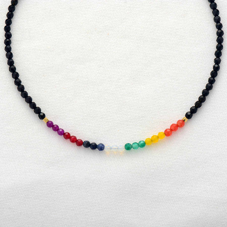 7 màu Chakra Dây Chuyền Bán Quý Đá Vòng Cổ Vòng Cổ Phụ Nữ Thời Trang Mới Đính Cườm Ngắn Dây Chuyền Trang Sức