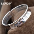 100% Real 999 Silver Jewelry Buddhist Scriptures Retro Bracelets Bangles for Women Men Lovers Best Gift High Quality ZJ0008