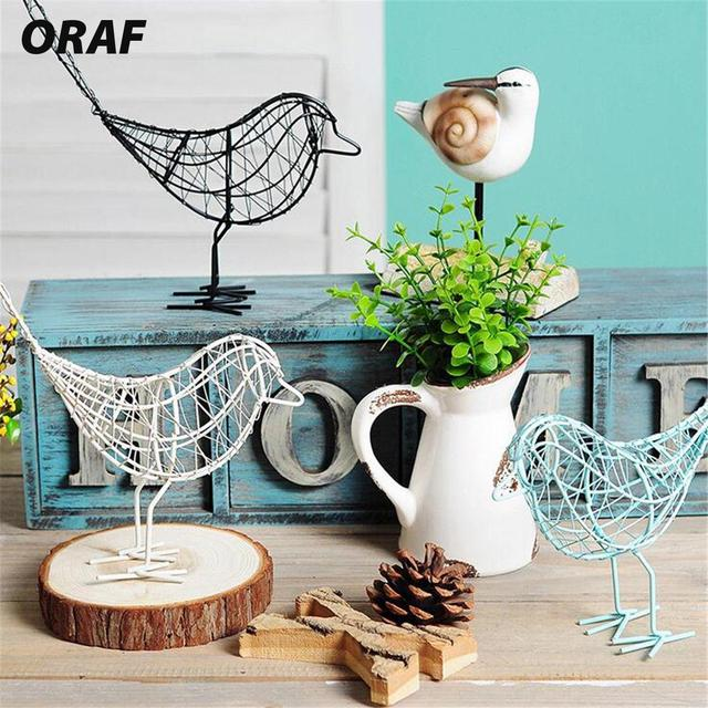 Metal Wire Iron Bird Home Furnishing Ornaments White/Black/Blue Contemporary Iron Wire Bird Home Decor Ornament Beautiful Craft