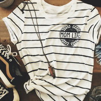 Women Summer Soft Comfortable Chic Striped Mom Life Letter Print Crewneck O Neck Tee T Shirt