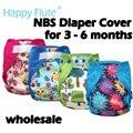 Feliz flauta NBS diaper cover, duplo vazamento guardas, impermeável e respirável, caber bebê 0-6meses ou 6-19lbs, sem inserção