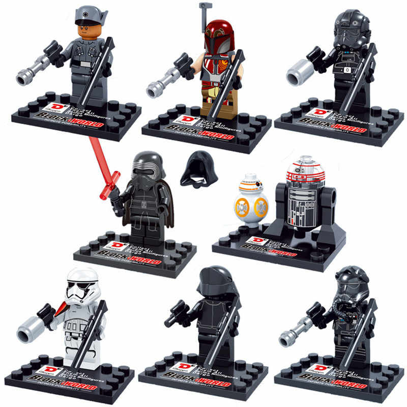 8pcs/lot Star Wars Light swords Stormtroopers Jedi Knight Darth Vader BB-8 Building Blocks Kit Toys Kids Gifts