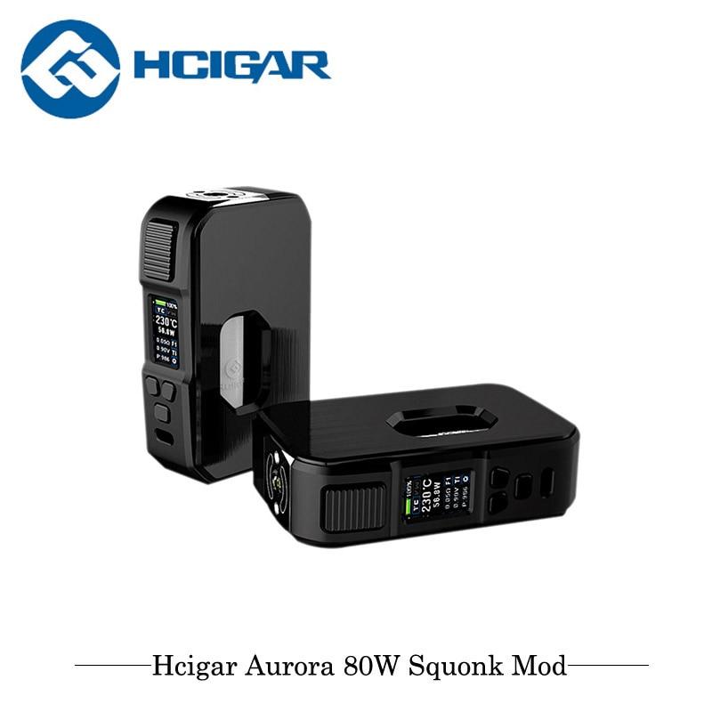 купить Original Electronic Cigarettes Mod Hcigar Aurora Squonk Mod 80W TC Box Mod Powered By 18650/20700/21700 Battery Vape Vaporizer онлайн