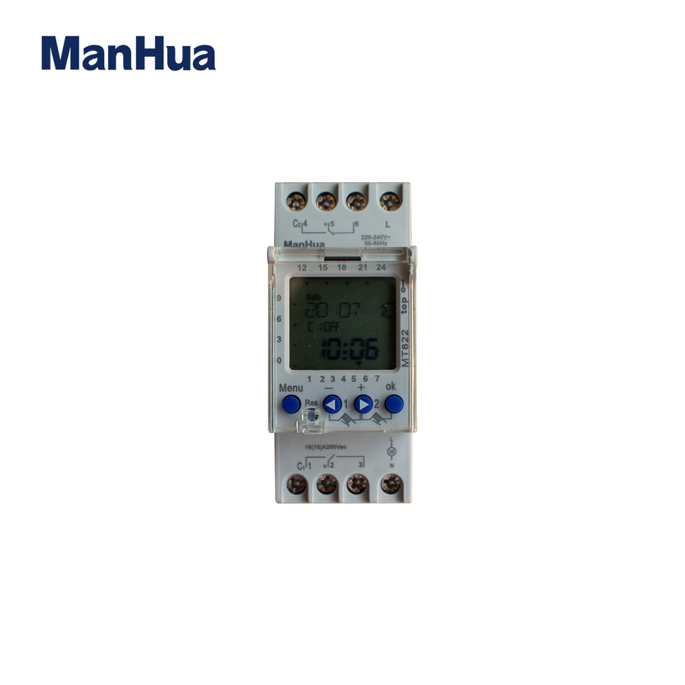 Manhua 250VAC MT822 2 Channels With LCD Display 7 Days Cycle Multi-functional Digital Timer Switch manhua weekly programmable 220vac 25a electrical school bell timer 68 on duration 1 99 seconds program with lcd display ms316b