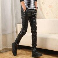Черные мотоциклетные брюки из искусственной кожи, мужские повседневные брюки из искусственной кожи, Модные узкие брюки для мужчин на осень ...