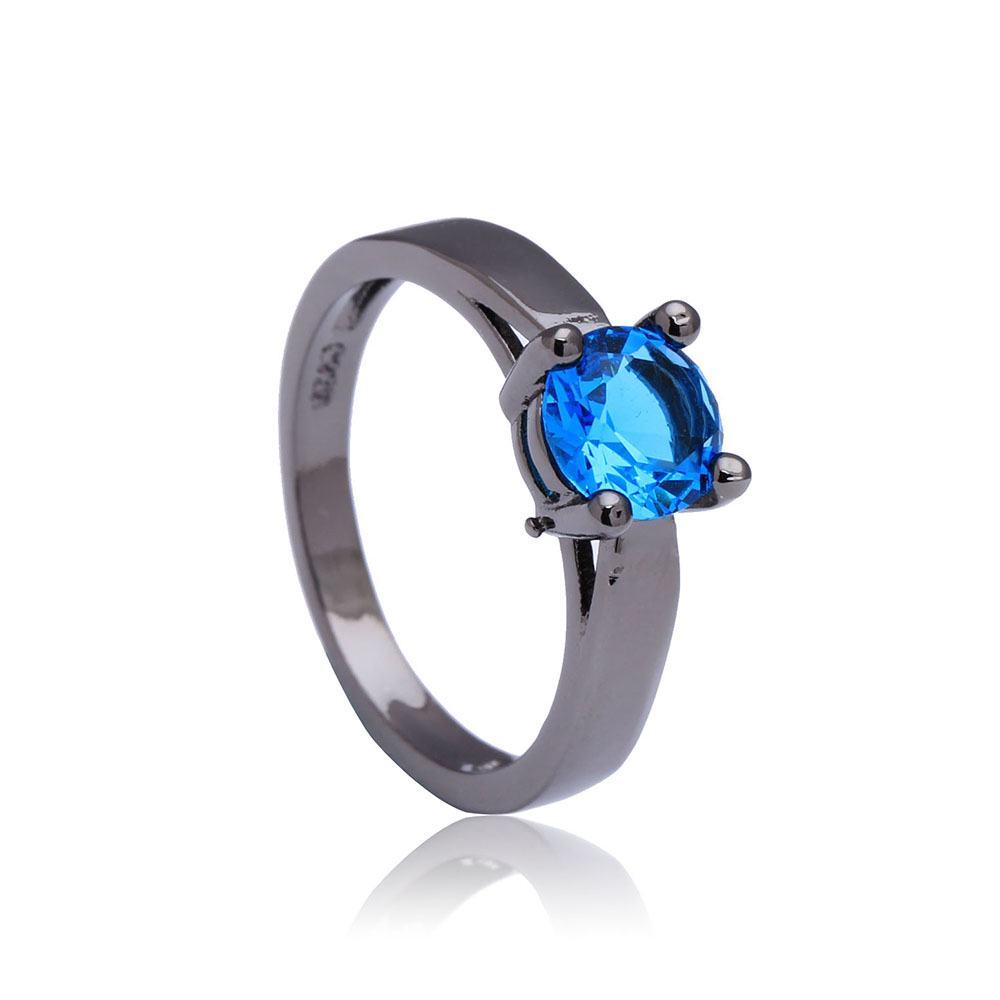 Blue synthetic Black gold-color Rhodium small round crystal paved gift women Wedding Engagement Ring jewellery
