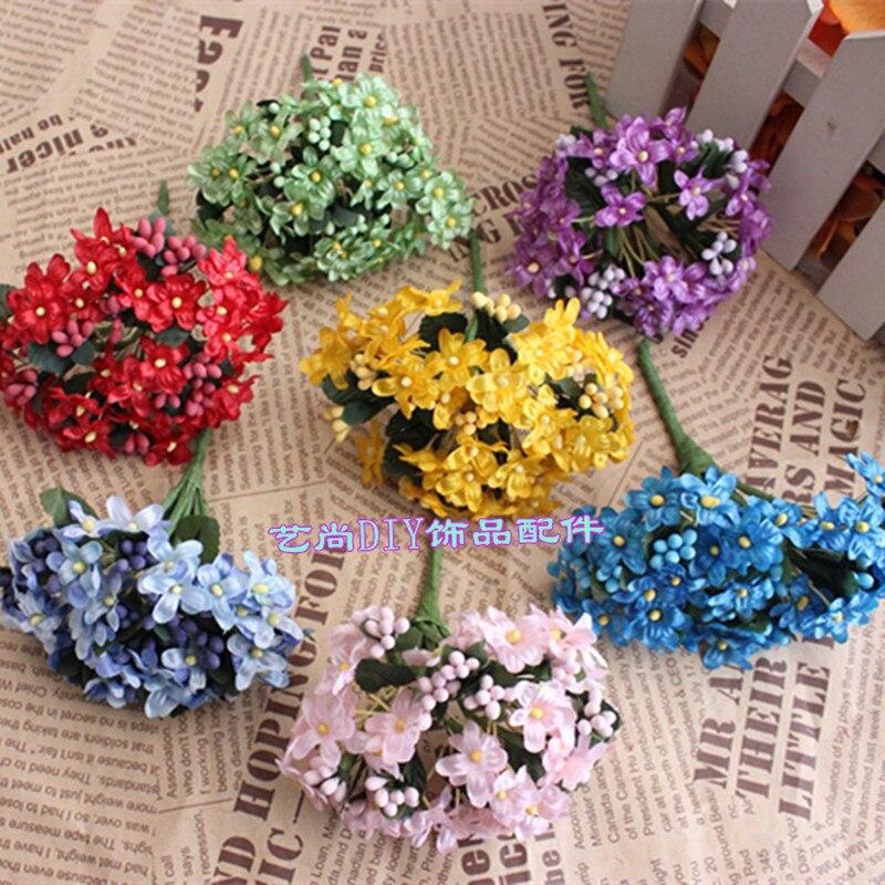 12 шт. мини тычинки шелк сливы Искусственные цветы букет для Свадебные украшения DIY декоративные гирлянды, искусственные цветы