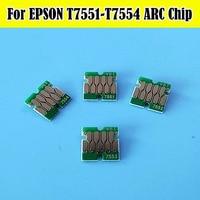 1 conjunto t755 t7551-t7554 arc auto reset chip do cartucho para epson wf8010 wf8090 wf8510 wf8590 cartucho de impressora