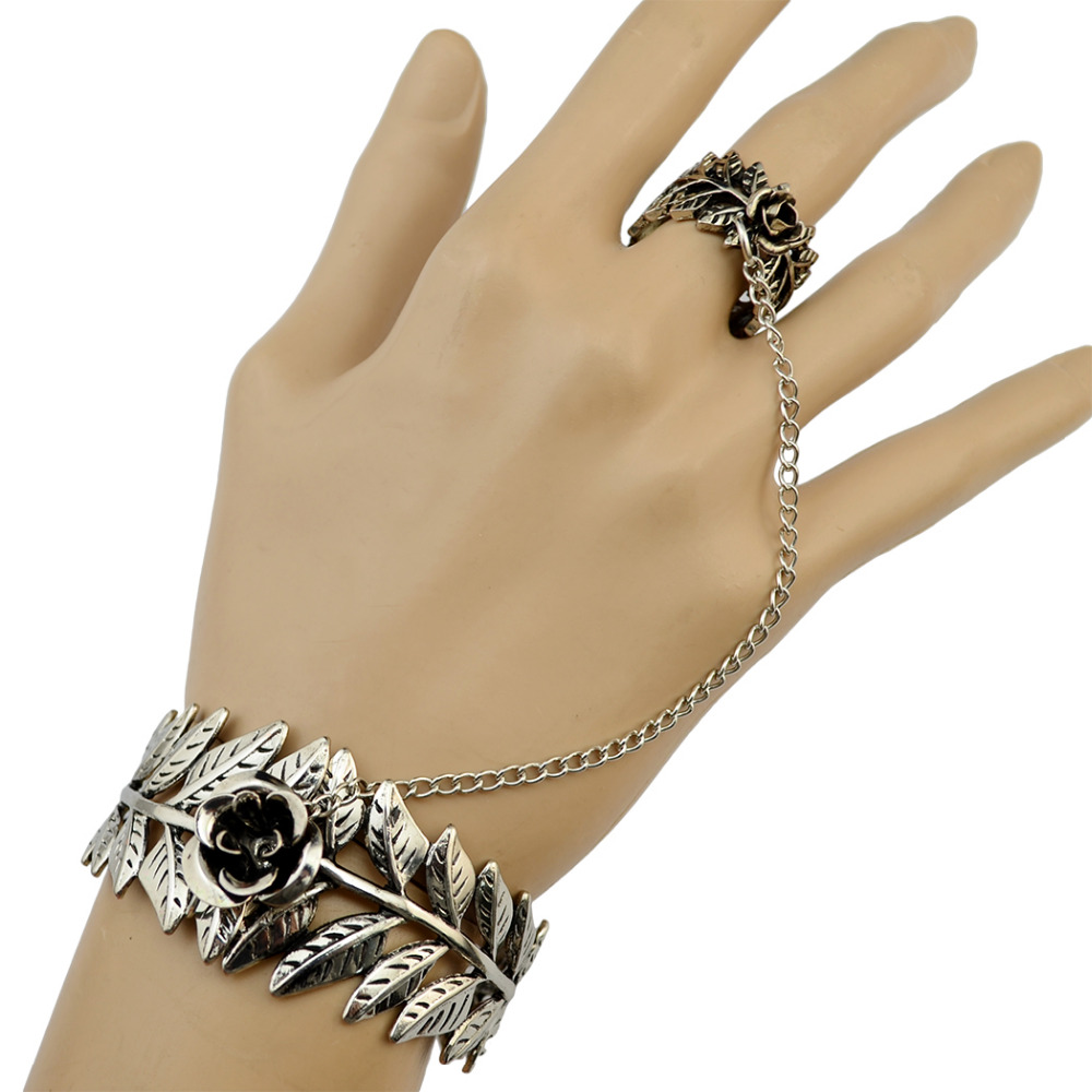 European & American Retro Silver Fashion Bracelet For Women Girl Jewelry Rose Leaf Shape Bracelets &Bangles Adjustable