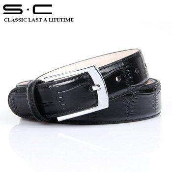 S.C Free Shipping mens wholesale Leather Dress Belt  Cowhide designer Leather waist Belt + embossed fashion black Belts 110822